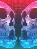 Painting pink and blue skull background Royalty Free Stock Image
