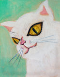 Painting pink cat Royalty Free Stock Images
