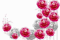 Painting pink color flower of roses. Royalty Free Stock Photos