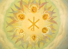 Painting of plafond depicting angels Royalty Free Stock Images