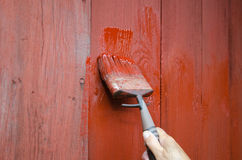 Painting a plank wall Royalty Free Stock Photo