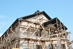 Painting and Plastering Exterior House Scaffolding Stucco Facade Wall Stock Photos