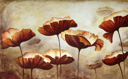 Painting poppies. Painting of poppies in acrylic on canvas stock illustration
