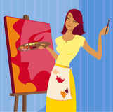 Painting a Portrait. Woman in paint spattered apron, painting a portrait Stock Illustration