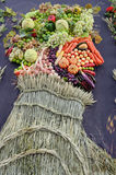 Painting a portrait of a man from the harvest of fruits and vege Royalty Free Stock Images
