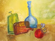 Painting with pottery and glass bottles. Stock Photo