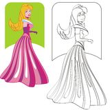Painting the Princess. The Princess, coloring page with example in color. Painting the white sketch, following the details of the color image Royalty Free Illustration