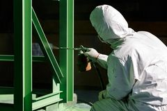 Painting process by spray gun Stock Photography