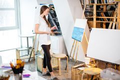Art therapy classes in workshop. royalty free stock photography