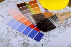 Paint color chart sample swatches, paint brush. Painting project supplies color chart sample swatches, paint brush stock images