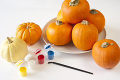 Painting Pumpkins Royalty Free Stock Images