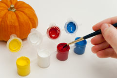Painting Pumpkins Royalty Free Stock Photo