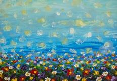 Painting purple cosmos flower, white daisy, cornflower, wildflower. Flowers meadow, green field paintings. Hand painted floral and. Oil painting purple cosmos stock photo