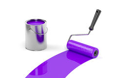 Painting with purple paint Stock Photo