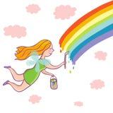Painting rainbow. Concept cartoon illustration Stock Image