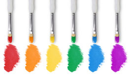 Painting Rainbow Colors with Paintbrush Royalty Free Stock Image