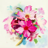 Painting Realistic flower pink color of Impala Lily flower. Watercolor original painting Realistic flower pink color of Impala Lily flower and green leaves in Stock Image