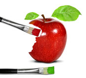 Painting red apple Stock Photography