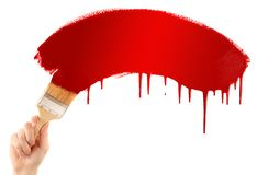 Painting red banner Stock Images
