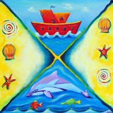 Painting of a red boat and marine life. A vibrant children's painting of a red boat, dolphin and other marine life stock illustration