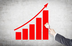 Painting a red graph Royalty Free Stock Image