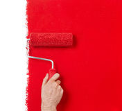 Painting in red. Hand with paint roller isolated on white Stock Photos