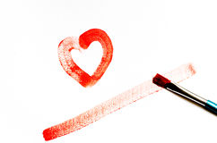 Painting red heart shape Stock Photo