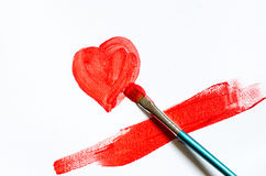 Painting red heart shape Royalty Free Stock Photos