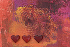 Painting and Red hearts  Stock Images