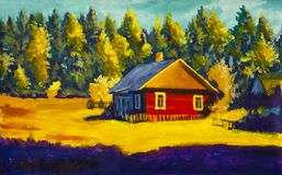 Painting rural village house, sunny landscape, summer landscape against the background of the forest. Painting red old village house, sunny rural  landscape Stock Images