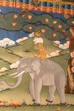 Painting of a religious fable inside Buddhist monastery / fort Dzong in Punhaka, Bhutan. Painting of a religious story inside Buddhist monastery / fort Dzong in stock photography