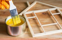 Painting and renovation home construction on wooden background royalty free stock photos