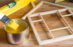 Painting and renovation home construction on wooden background royalty free stock photography