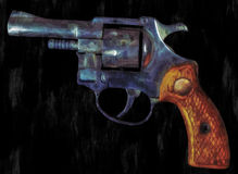 Painting of a Revolver Royalty Free Stock Photos