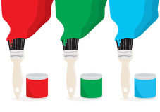 Painting with RGB colour. Open cans of paint with brushes painting long brsh strokes in RGB colour on white, vector illustration Royalty Free Stock Photos
