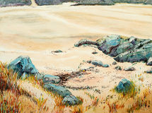 A painting of rocks and sand. Painting of a beach view at Aultbea, Wester Ross, Scottish Highlands Royalty Free Stock Images