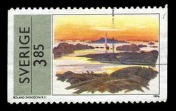 Painting by Roland Svensson, swedish painter and illustrator. SWEDEN - CIRCA 1996: stamp printed in Sweden, shows painting by Roland Svensson, swedish painter Royalty Free Stock Image