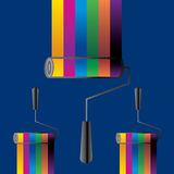 Painting roller. Creative many color wall painting roller vector Stock Photos