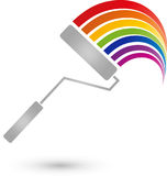 Painting roller and rainbow, professions and painter logo. Painting roller and rainbow, colored, professions and painter logo Royalty Free Stock Photos
