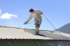 Painting the roof Stock Image