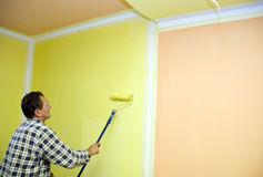 Painting room in yellow Royalty Free Stock Photo