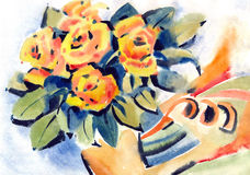 Painting rose flowers Stock Images