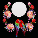Painting  of roses flowers and  Macaw bird. Stock Photography