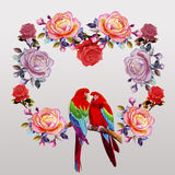 Painting  of roses flowers and  Macaw bird. Stock Photo