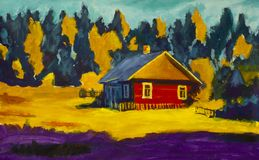 Painting rural village house, sunny landscape, summer landscape against the background of the forest. Painting red old village house, sunny rural  landscape Stock Photos