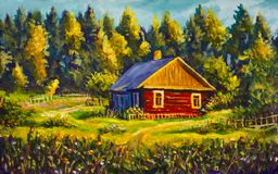 Painting rural village house, sunny landscape, summer landscape against the background of the forest. Painting red old village house, sunny rural  landscape Stock Image
