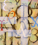 A painting - It's All Greek to Me. An abstract painting based on characters from the greek alphabet Stock Photography