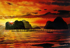 Painting  saescape colorful of Sea fishing in the sunlight  morn Royalty Free Stock Images