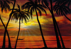 Painting  saescape colorful of Sea fishing in the sunlight  morn Stock Images
