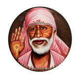 Painting of Sai Baba on the white. Death of Sai Baba in april 2011 stock photo